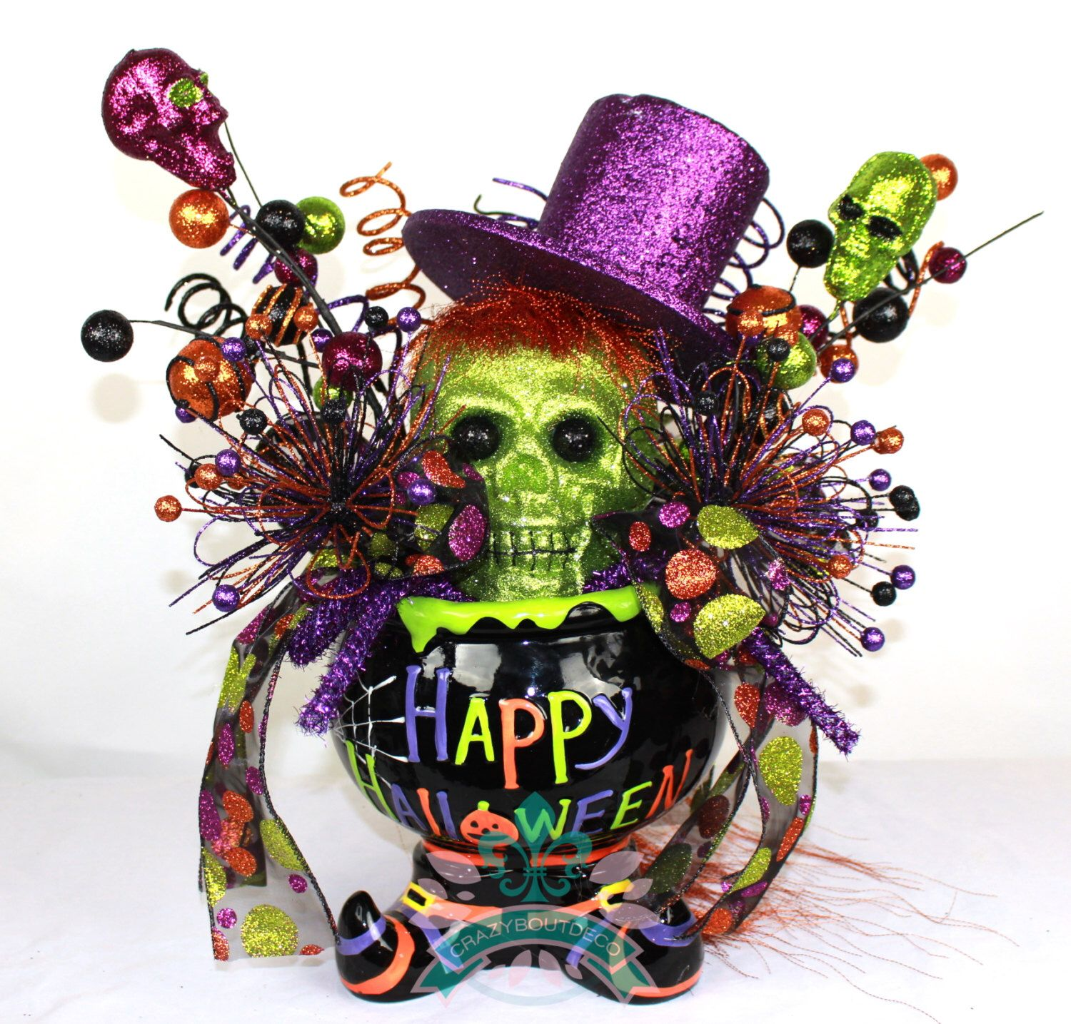 halloween decor halloween centerpiece happy halloween witchs cauldron halloween centerpiece floral arrangement by - Halloween Centerpiece