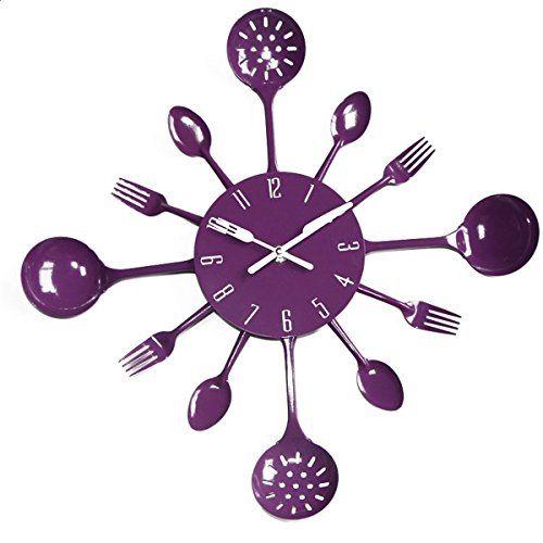 Uniquebella Metal Kitchen Cutlery Utensil Wall Clock Spoon