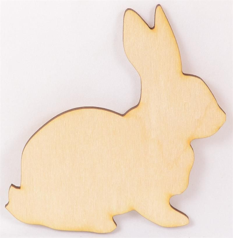 Rabbit Wood Cutout 4 X 4 Package of 10 Wood Cutouts Wooden