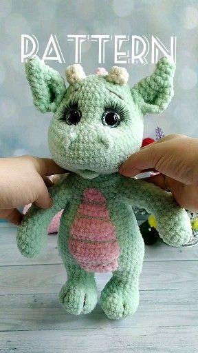 Crochet PATTERN Dragon. Plush Dragon baby Amigurumi toys. Amigurumi patterns / pattern in English