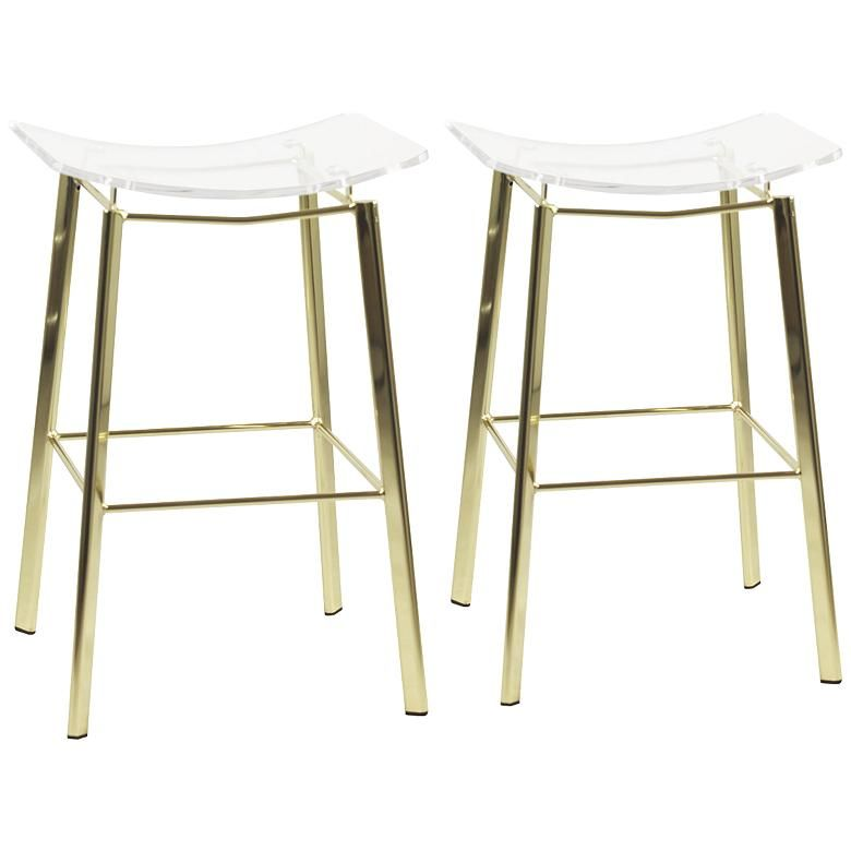 Enjoyable Artina 25 Clear Acrylic And Gold Counter Stool Set Of 2 Short Links Chair Design For Home Short Linksinfo