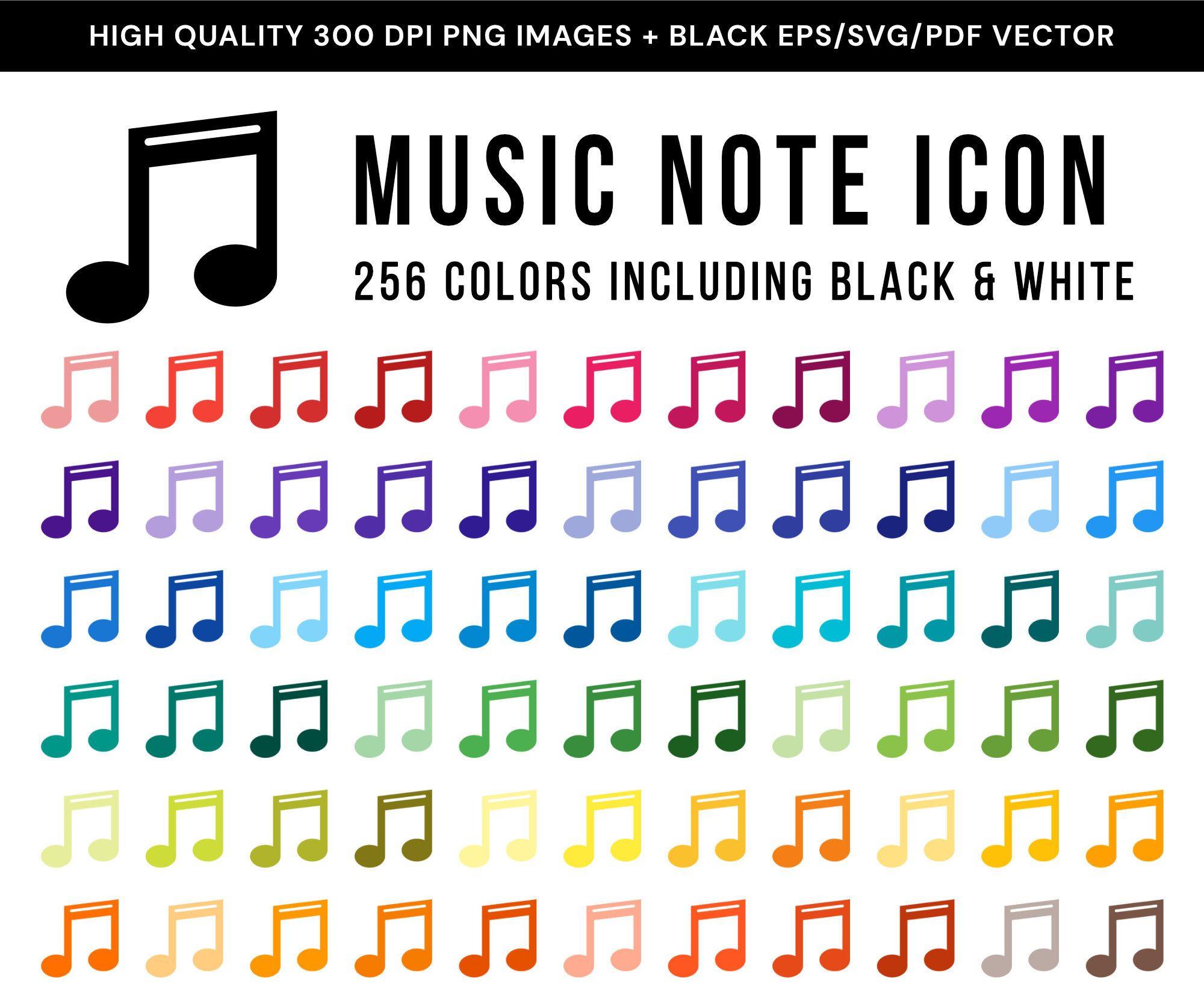 256 Music Note Icons Clip Art MultiColored Single Bar
