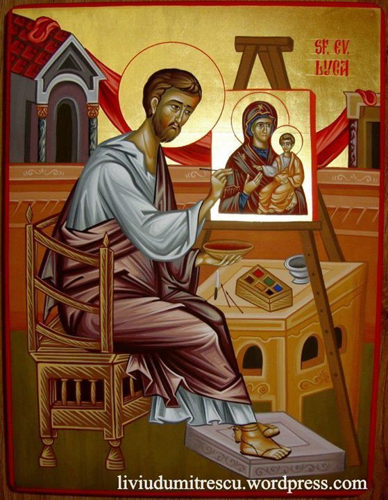St Luke, the first iconographer. This is the image   Luka has chosen for me to paint for him.