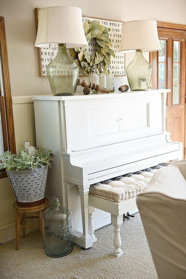 How To Decorate A Piano In Farmhouse Living Room