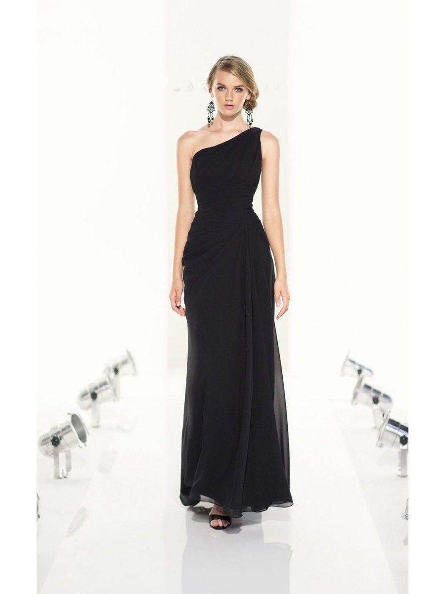 06a273b34a7 Long Black Chiffon One-Shoulder Wedding Party Bridesmaid Dresses 3302093