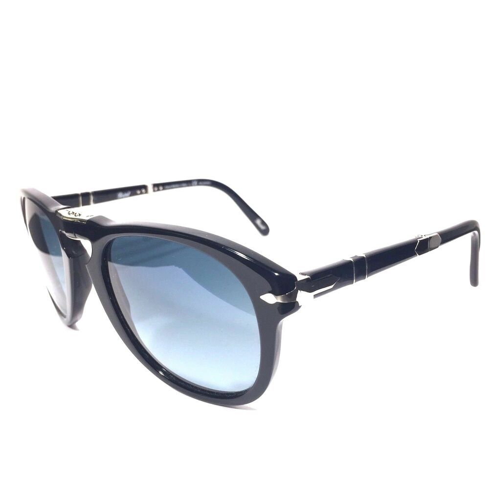 58e33605811 PERSOL 714 Steve McQueen 95 S3 52mm Black Blue Polarized Sunglasses (MSRP   480)