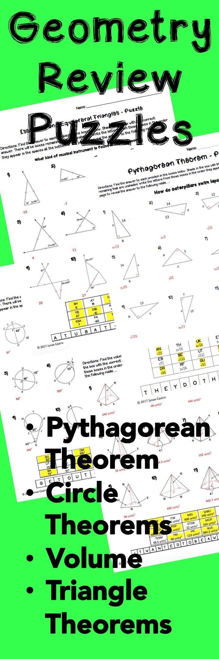 Geometry Puzzle Worksheets Bundle Teaching Geometry Math Geometry Geometry