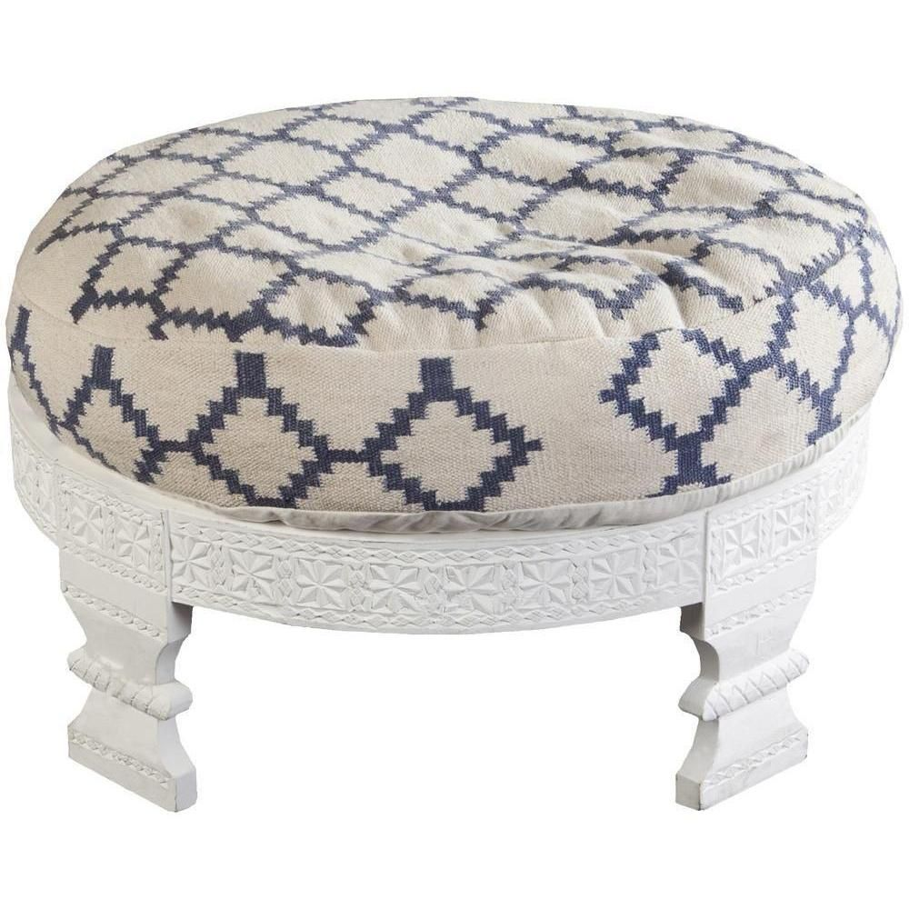 Surya Furniture Ivory And Blue Round Ottoman FL1026