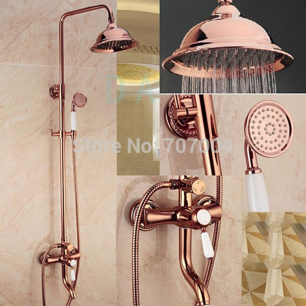 Rose Gold Rose Copper Shower Fixtures Gold Bathroom Decor Gold Bathroom Rose Gold Bathroom Set