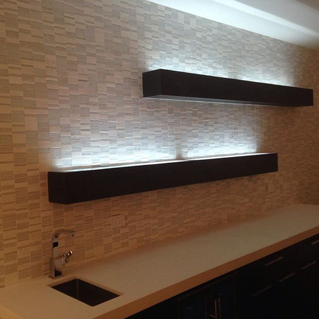 Floating Shelves With Gl Top Led Lighting To Showcase The Bottles In Your Bar Area