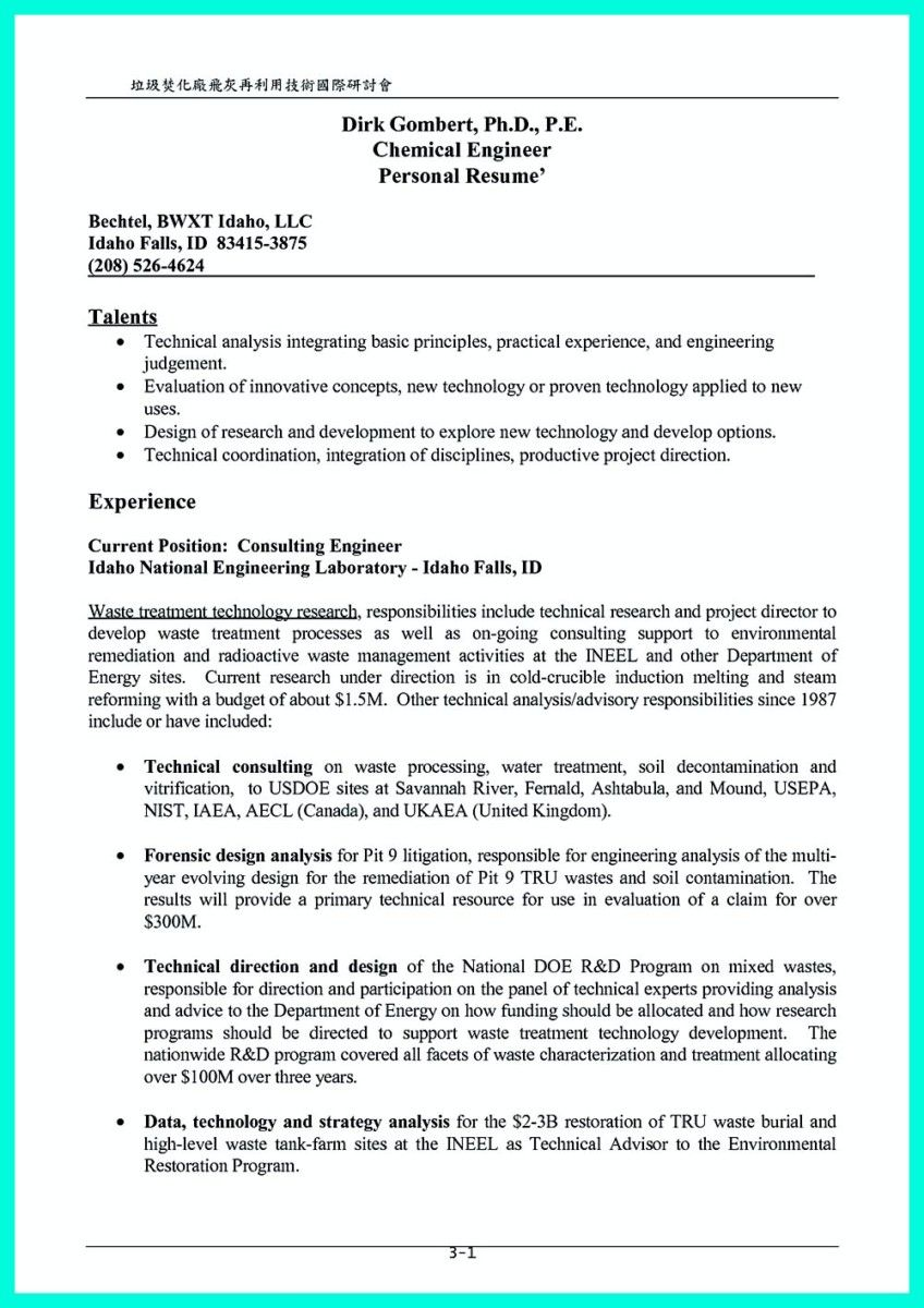 nice Successful Objectives in Chemical Engineering Resume, Check ...