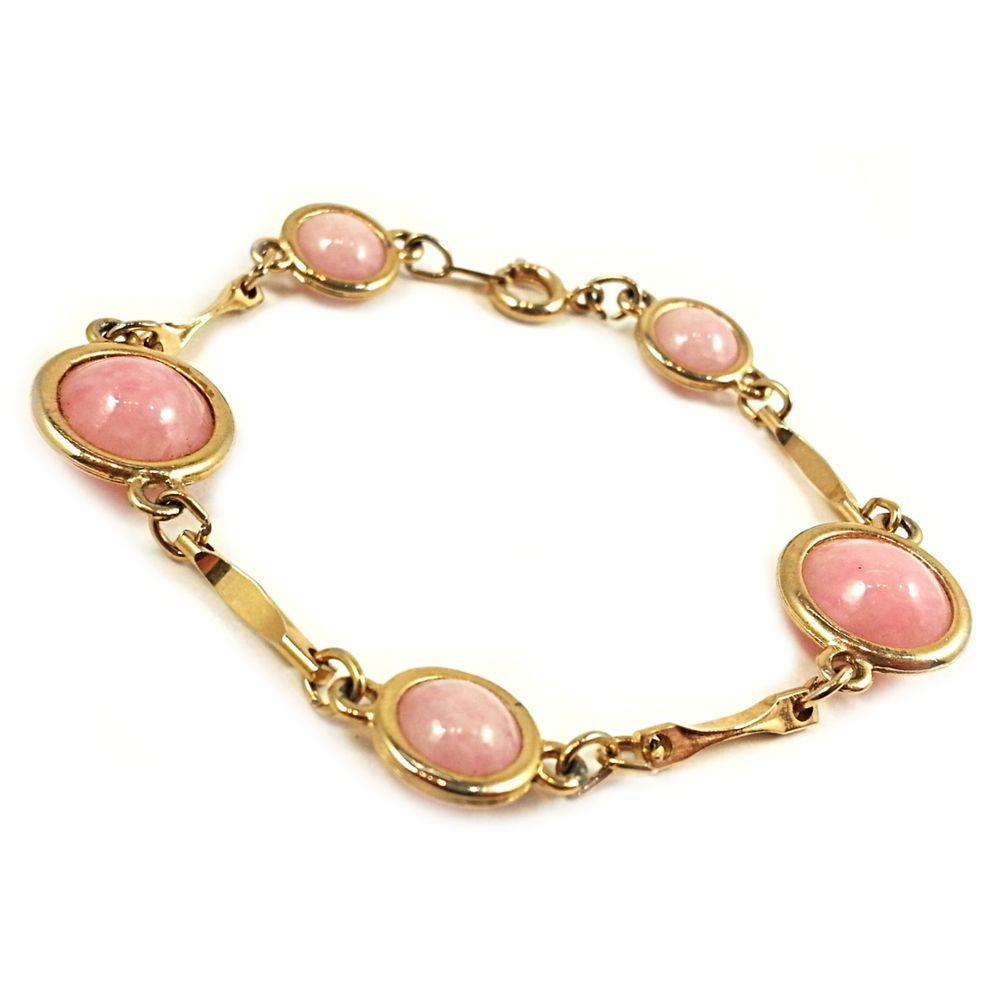 "Soft Pink Bracelet Vintage Agate Stone 6.75"" Gold Tone Retro b147 #Unbranded #Statement"