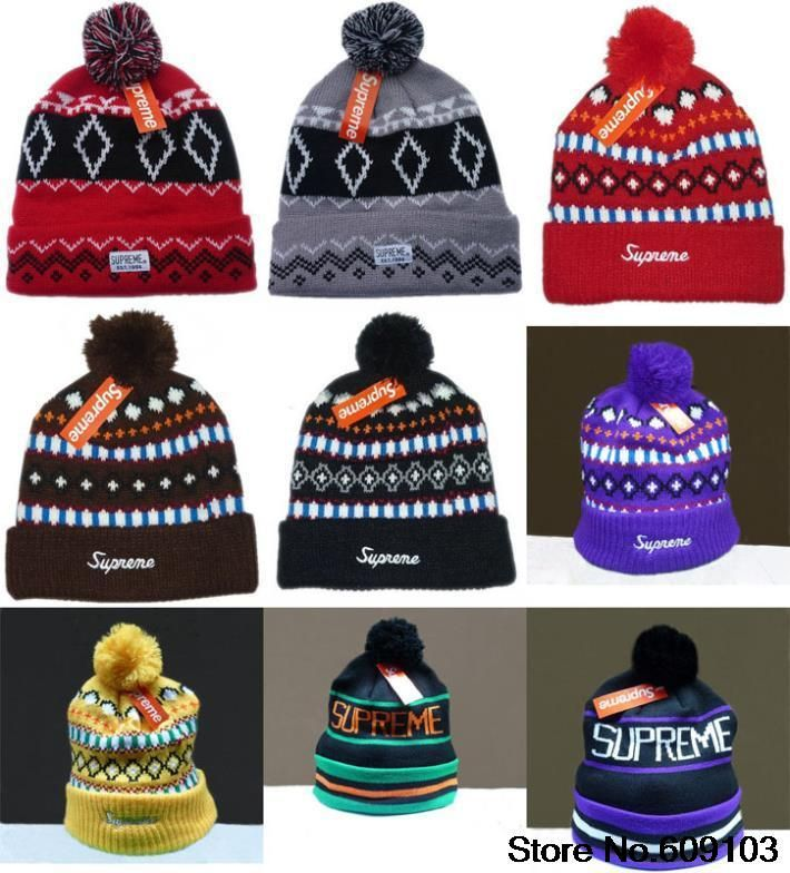 d27b5c4dc15 Supreme with ball skullies Beanies Hats Hip-Hop wool winter Cotton knitted  warm caps Snapback hat for man and women 1pcs  9.99