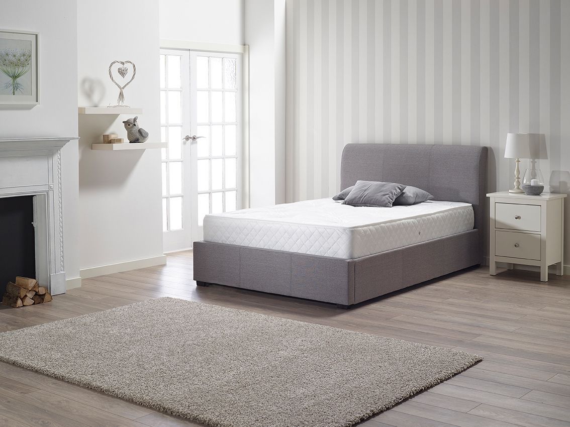 Ottoman Storage Gas Lift Bed. Finished in grey linen