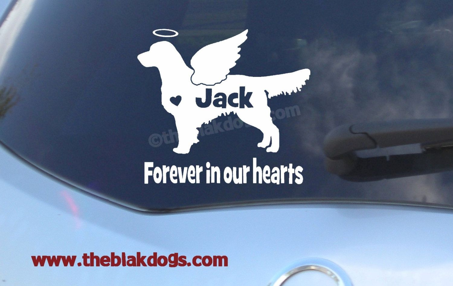 Car sticker custom made - Golden Retriever Custom Angel Wings And Halo Silhouette Vinyl Sticker Personalized Car Decal By Blakdogs