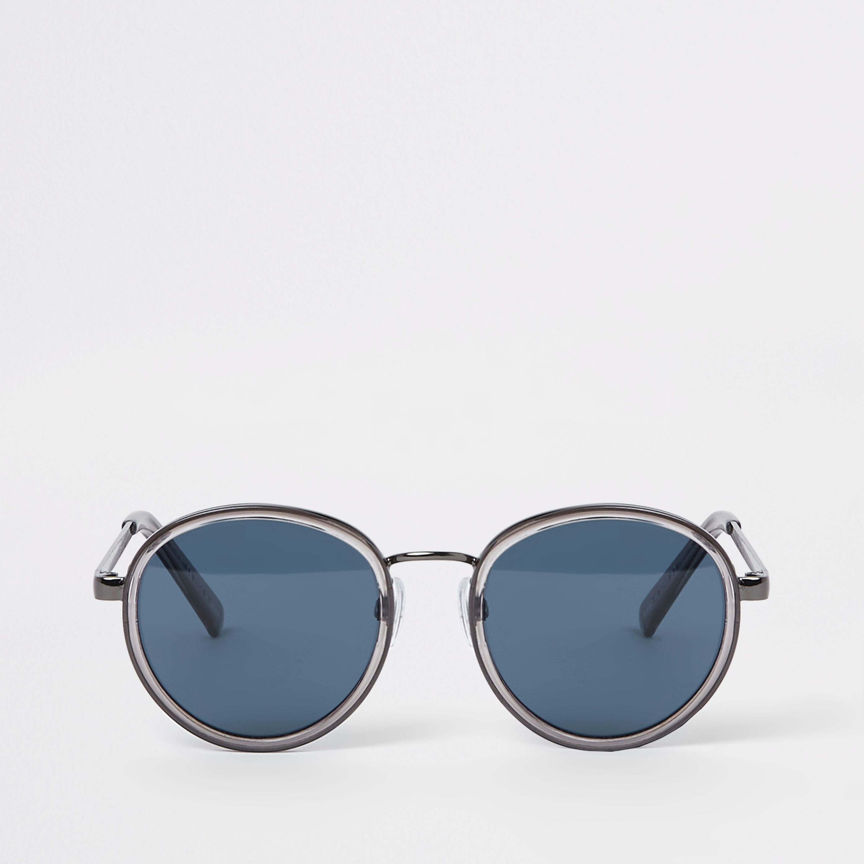 e518f00af2b Mens Grey blue lens round sunglasses in 2019