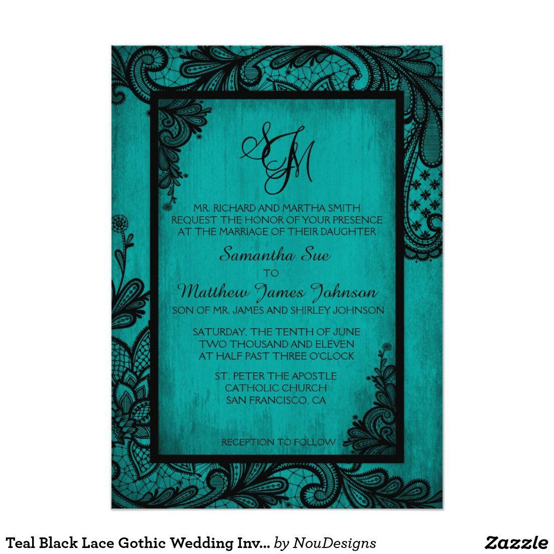 Teal black lace gothic wedding invitation card lace wedding teal black lace gothic wedding invitation card stopboris Images
