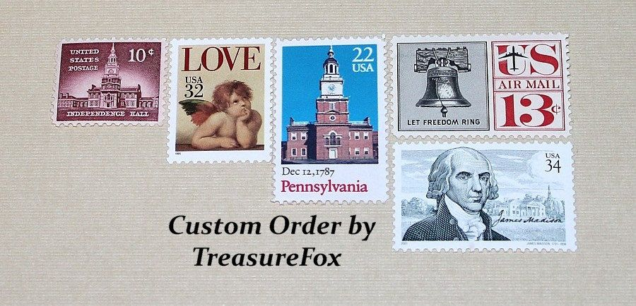 Reserved Custom Order for Dena. Unused Vintage US Postage Stamps for mailing Wedding Invitations. by TreasureFox on Etsy