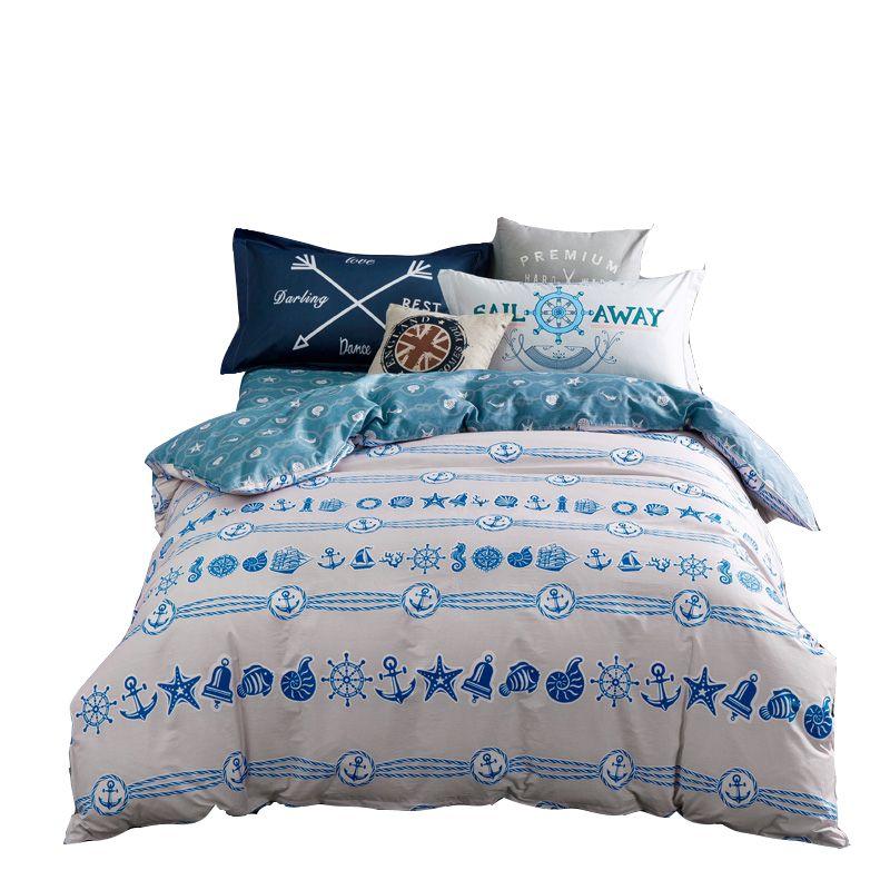 Blue Bedding Set Queen Twin Double Size,100% Cotton Duvet Cover Fish Bed  Sheets Whiteu0026blue Pillowcase,multi Size Duvet Cover Set #Affiliate
