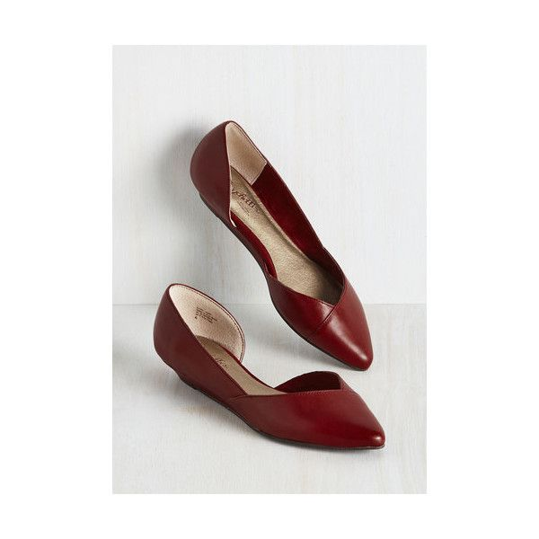 Seychelles Minimal Advantage Wedge (130 CAD) ❤ liked on Polyvore featuring shoes, flats, ballet flat, flat, red, red shoes, red flats, ballet flat shoes, d'orsay flats and wedge flats