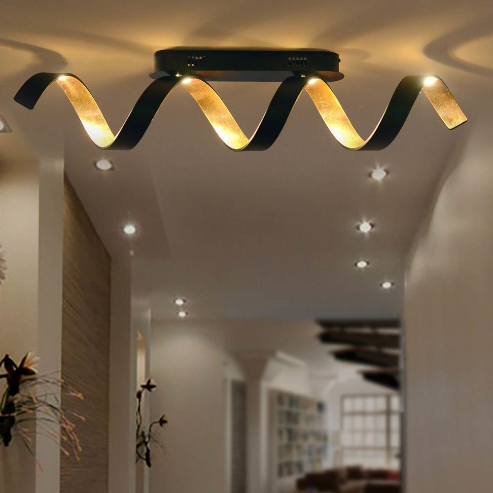 Led Deckenleuchte Helix In Schwarz Und Gold 20w 1800lm Luce Ambiente Design Led Helix Pl4 Ner Led Deckenleuchte Wohnzimmer Leuchte Lampen Wohnzimmer