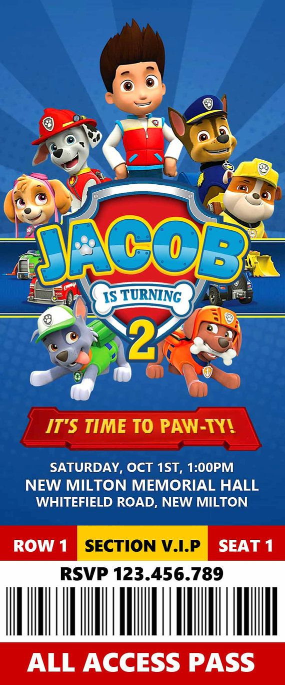 Paw Patrol Invitation, Paw Patrol Ticket Invitation, Paw Patrol Birthday,Paw Patrol Invite, Paw Patrol, FREE Thank You Card  THIS IS A PERSONALIZE SERVICE: I will personalize the invite for you. You will receive a 300 dpi high resolution JPEG FILE emailed to you within 24 hours after order placement. I will make revisions until you are completely satisfied! ►►► HOW TO ORDER:◄◄◄  1. Add your item to cart.  2. Include all your party details in the notes to seller section when ordering: • Name…