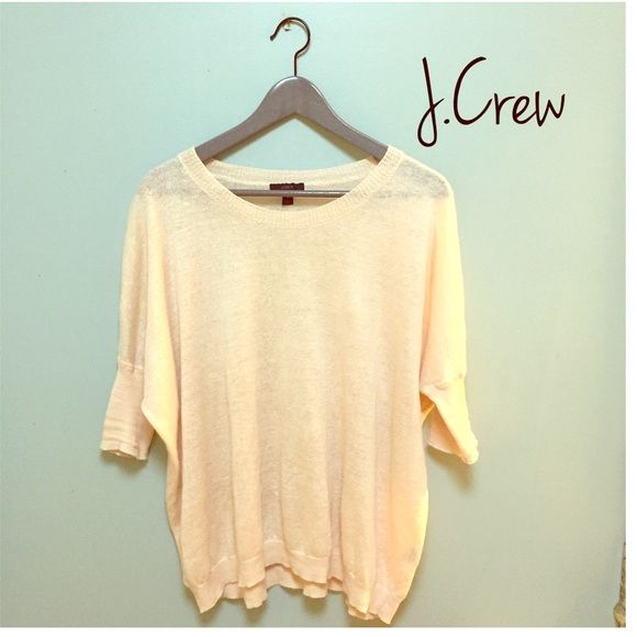 J.Crew sweater Beautiful J.Crew linen sweater in nude/blush. Perfect for spring/summer. Size XS, fits a small best. Oversized casual fit. In great condition. No stains, pilling or holes. J. Crew Sweaters