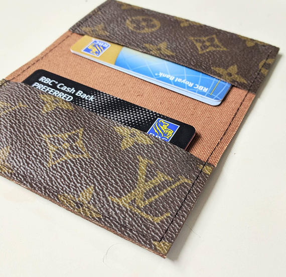 3849891a56f3 LV business card holder - Repurposed Louis Vuitton small wallet - Upcycled Louis  Vuitton wallet - LV