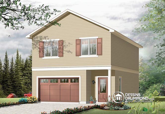 W3954-V1 - Garage avec logement à lu0027étage, chalet champêtre, 2 - plan de maison a etage moderne