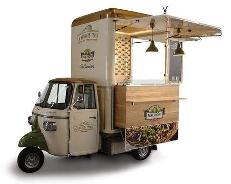 Vending Bruschetta On A Vintage Piaggio Van Buy An ApeCar Entirely Customized For Your Business Food Truck Manufacturer Set In Italy