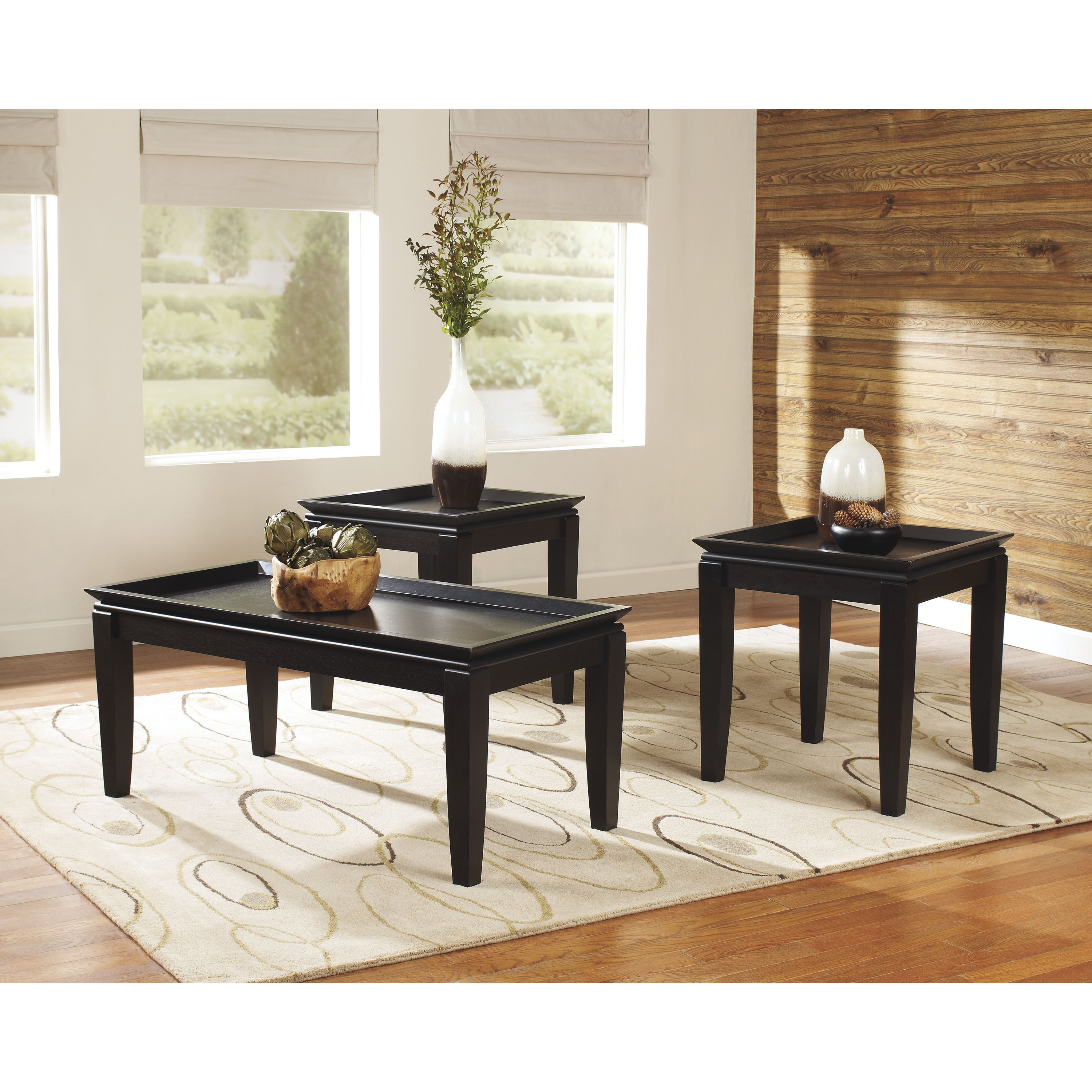 Signature Design By Ashley Delormy 3 Piece Occasional Table Set Almost Black Of