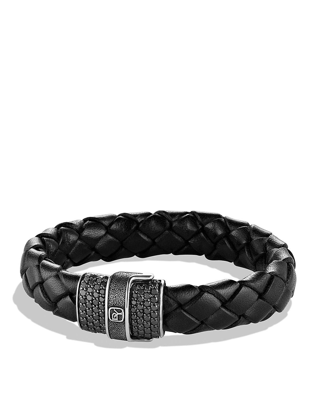 David yurman pavé bracelet in black with black diamonds mens iced
