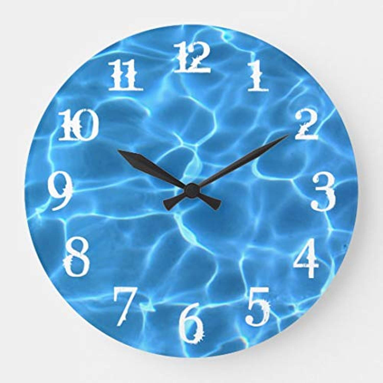 White Splash Numbers Blue Swimming Pool Silent Wall Clock For