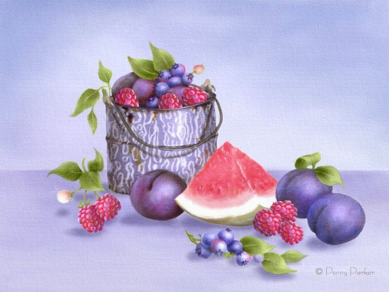 Bucket of Berries by Penny Parker