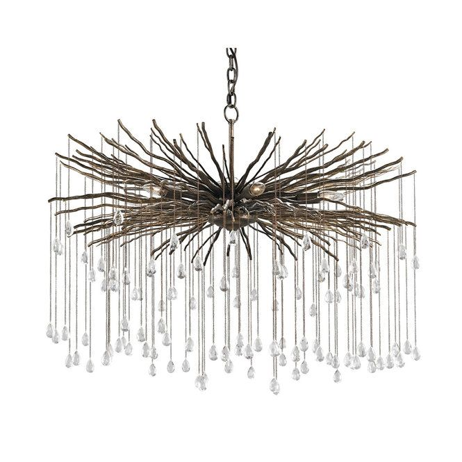 Crystal Droplets Hang From Iron Branches To Create This Unique And Striking Chandelier The Bronze Finish Adds A Rustic Vibe Sparkles