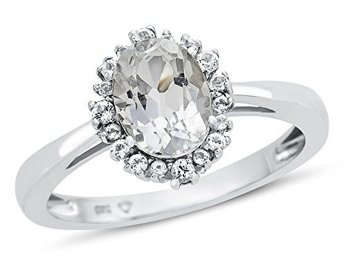 Finejewelers Solid 10k White Gold 8x6mm Oval Center Stone and White Topaz Ring