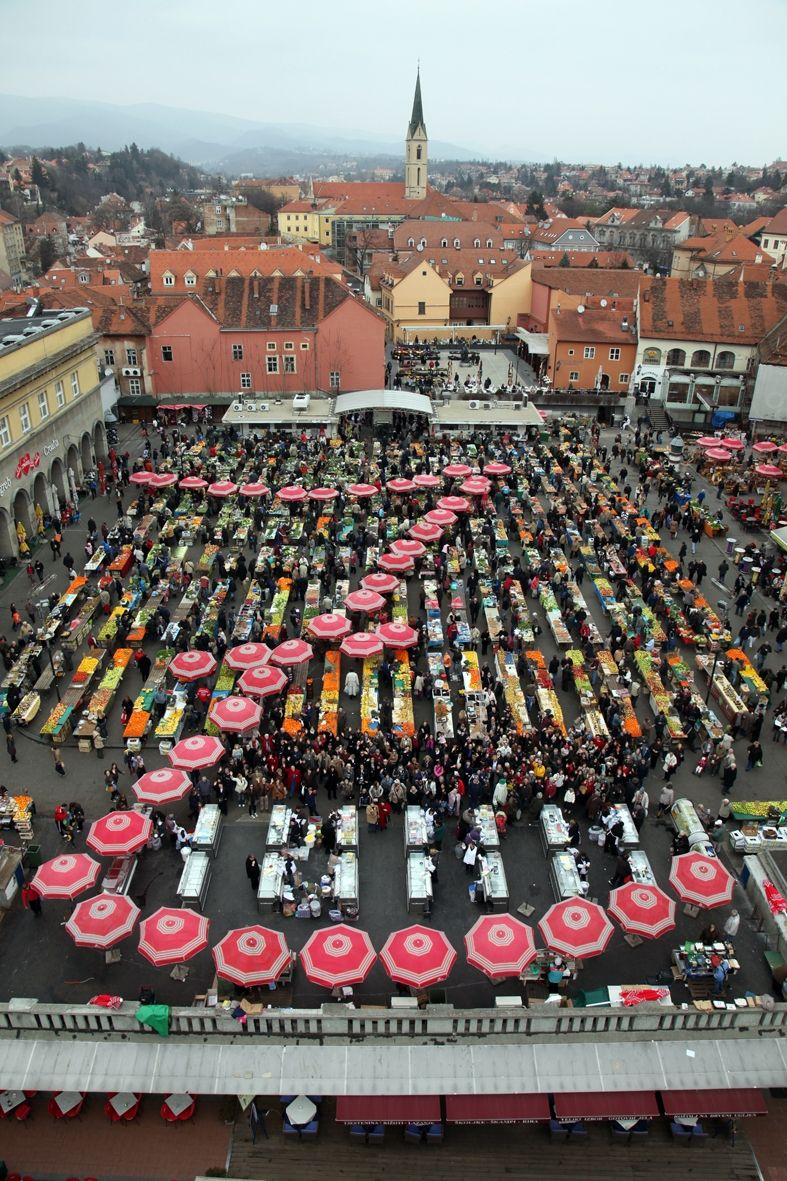 Letter Z Formed With Red Umbrellas On Farmers Market Called Dolac The Biggest Open Air Food Market In Zagreb Zagreb Dolac F Zagreb Croatia Zagreb Croatia