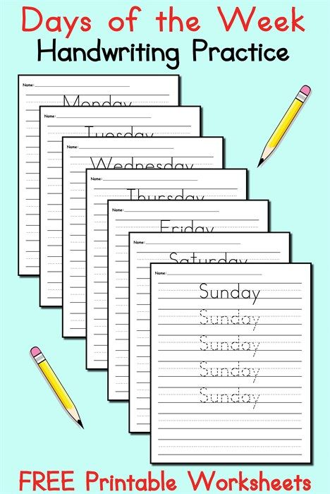 7 free days of the week handwriting worksheets tracing handwriting and cursive handwriting. Black Bedroom Furniture Sets. Home Design Ideas