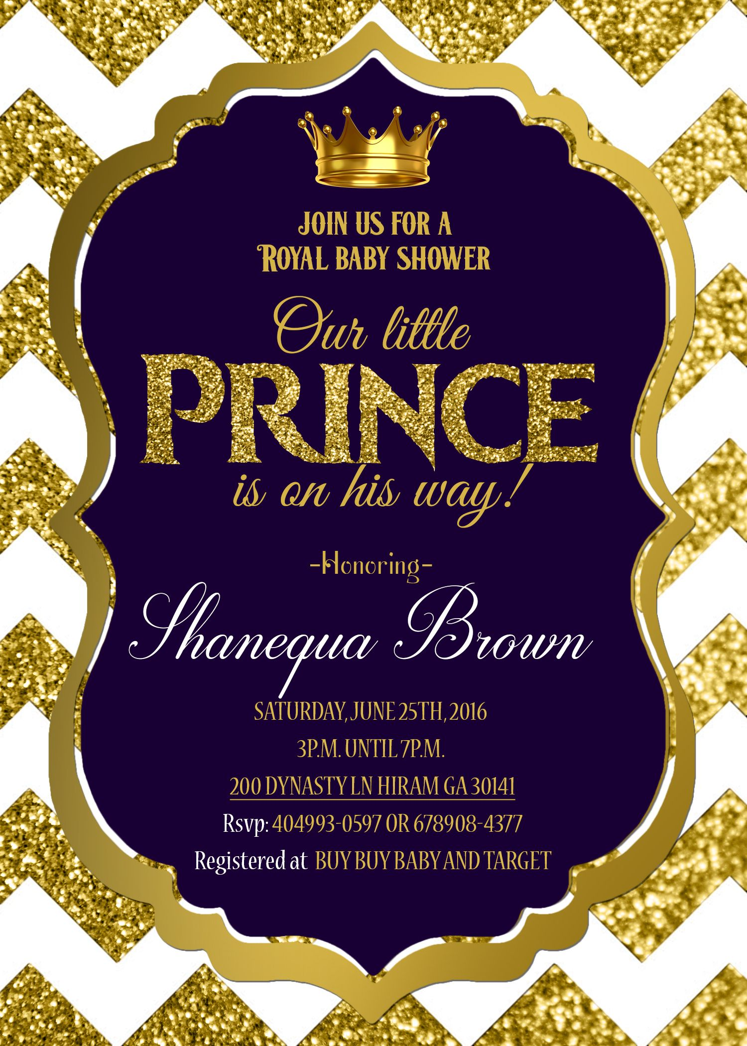 baby shower invitation royal prince gold royal prince themed baby