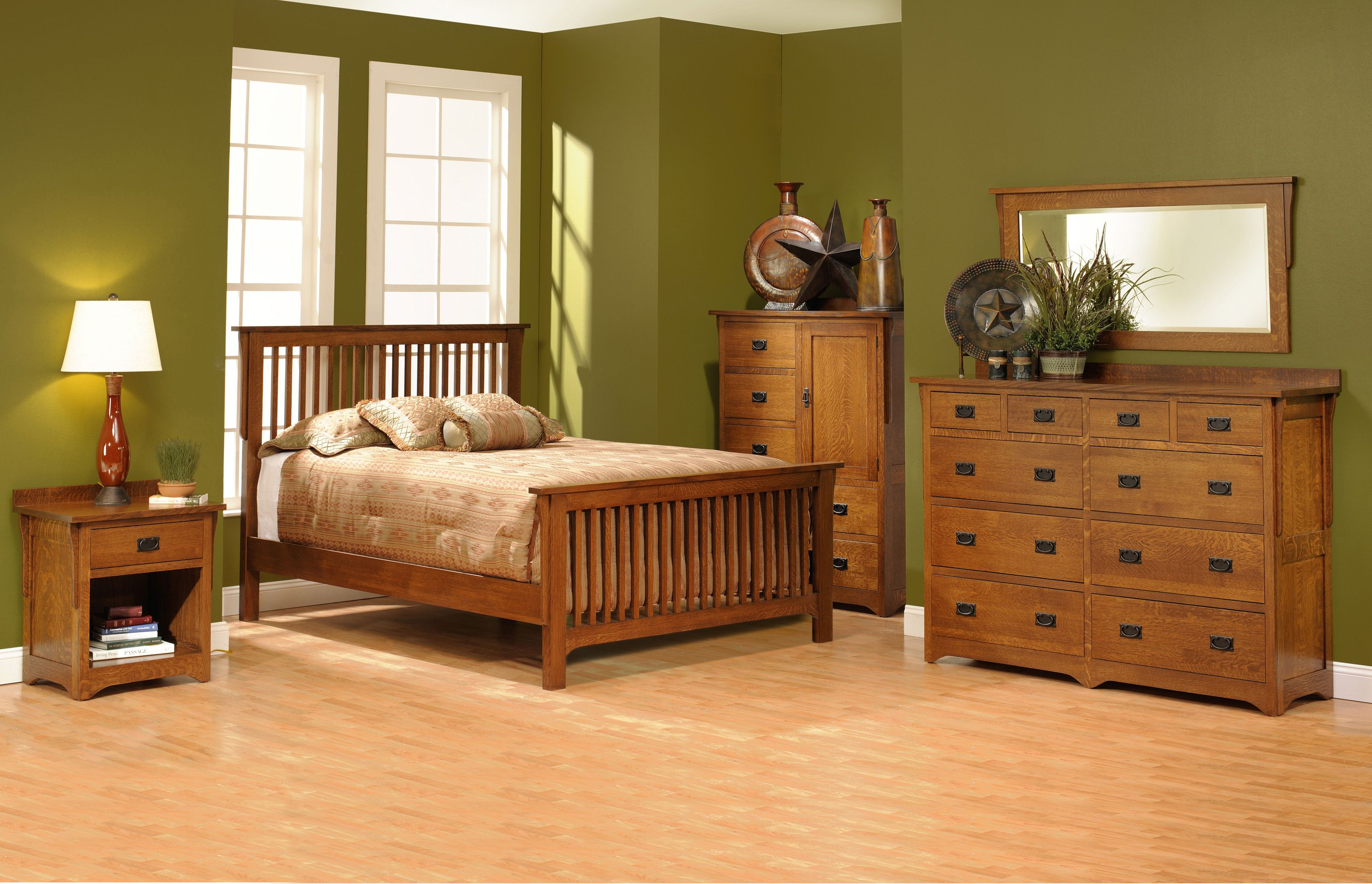 san juan mission style solid oak mission bedroom set | amish