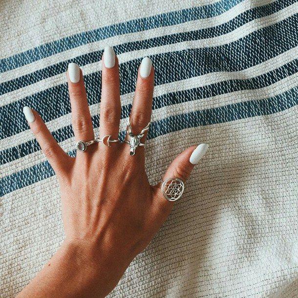 Boho Cute Indie Nail Art Nail Polish Nails Rings Style Nail Ring Nail Art Claw Nails