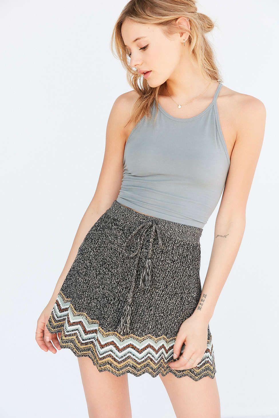83a9098d6 Ecote Chevron Sweater-Knit Mini Skirt #UrbanOutfitters High Waisted Skater  Skirt, Mini Skater