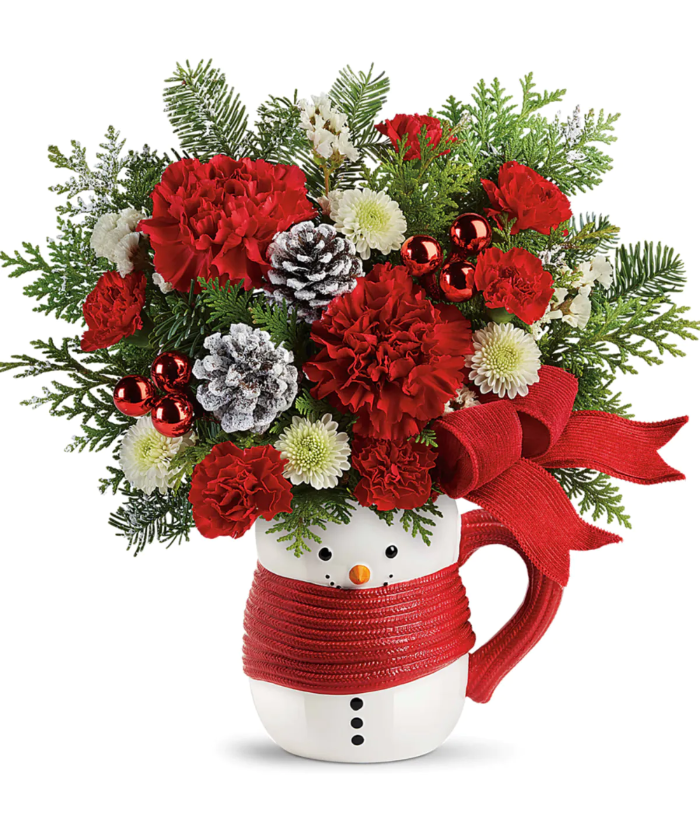 Send A Hug Snowman Mug Snowman mugs, Christmas flowers