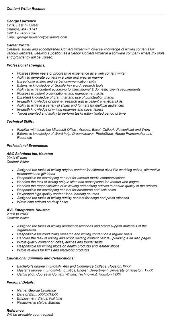 content writer resume latest resume format