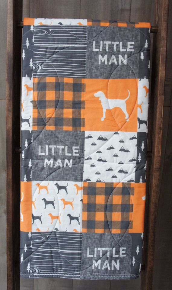 Baby Boy Quilt , Baby/Toddler Blanket , Woodland , Dog , Hunting , Forest , Baby Bedding , Crib Bedding , Babylooms #babyboyblankets