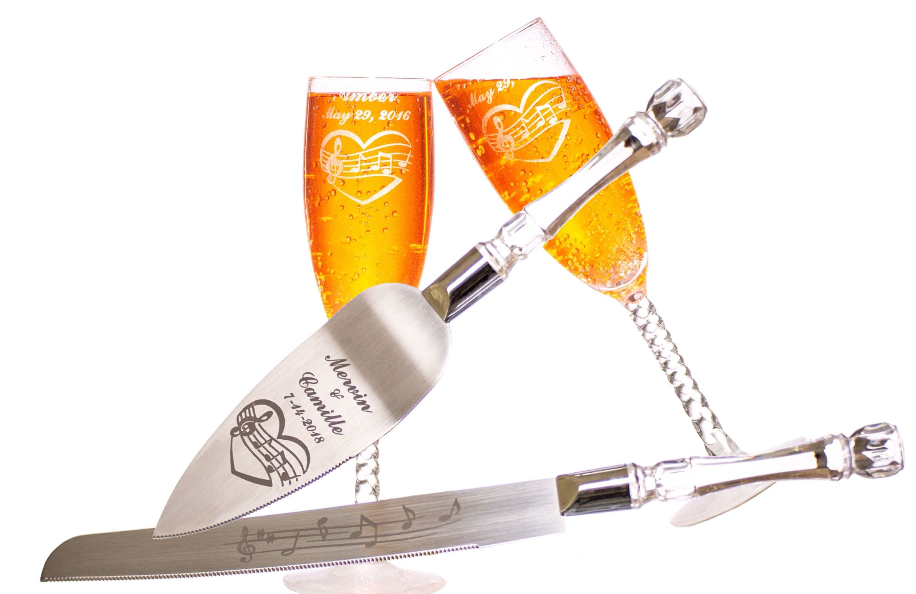 Music Note Heart Wedding Cake Knife And Server & Champagne