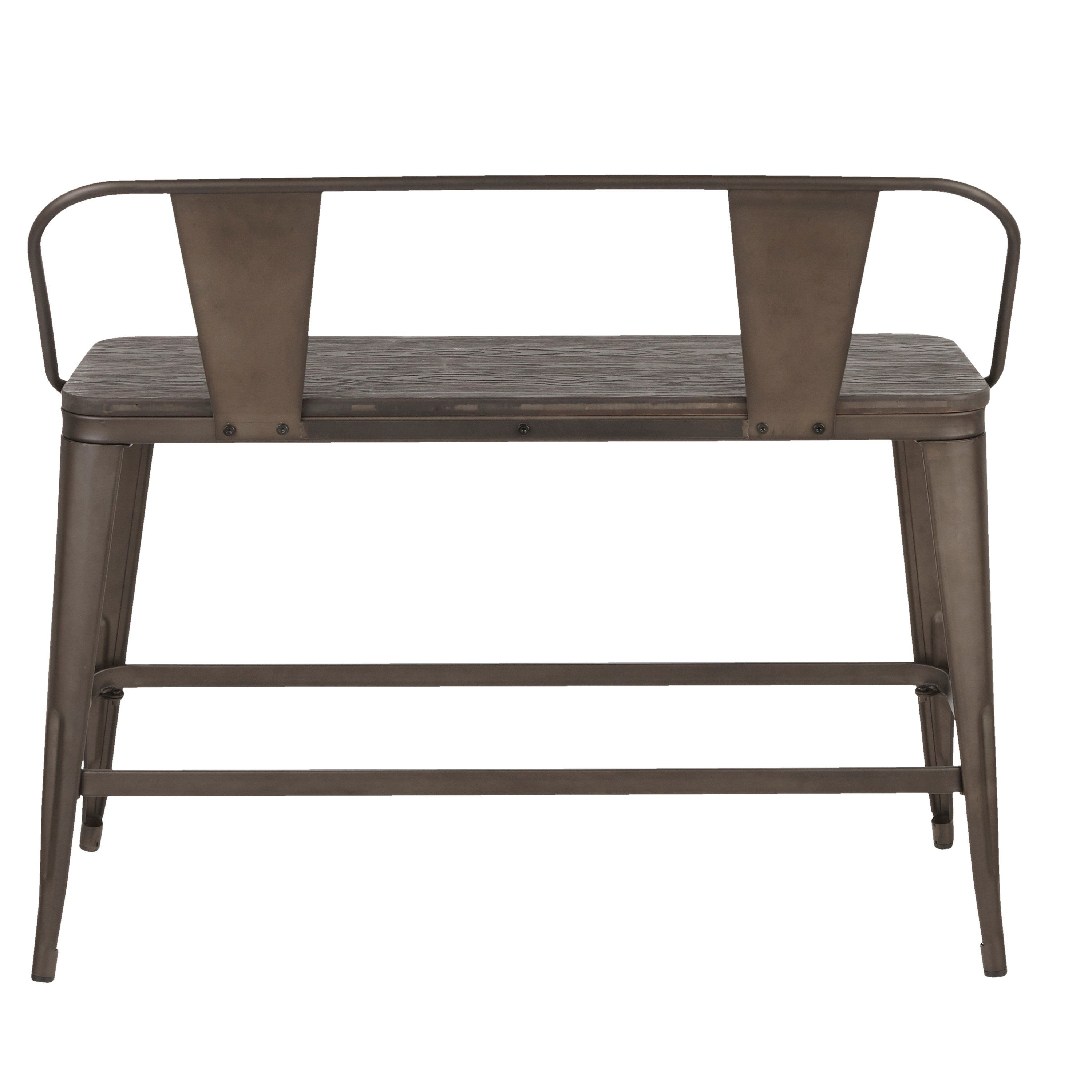 Farmhouse antique and brown metal counter height bench