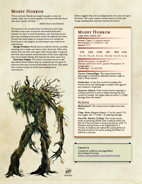 Mossy Horror A Forest Predator Comments And Criticism Appreciated Unearthedarcana In 2020 Dungeons And Dragons Homebrew Plant Monster D D Dungeons And Dragons