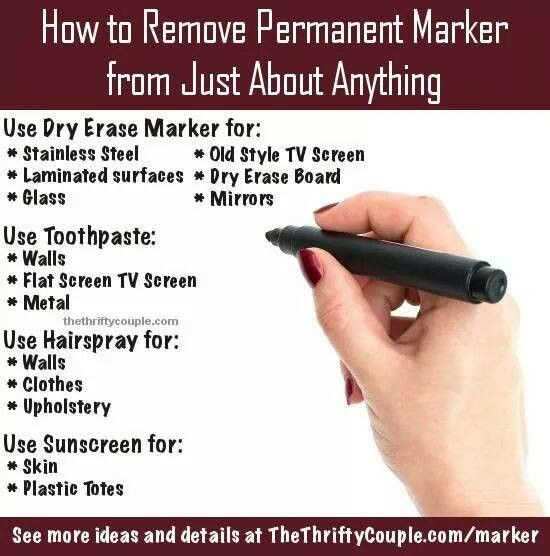 How To Remove Permanent Marker From Just About Anything How To Remove Sharpie Remove Permanent Marker Cleaning Hacks