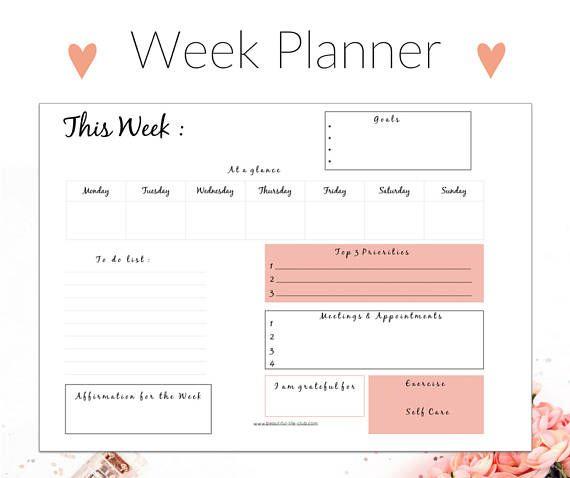 Week Planner Printable Weekly Planner A Planner Insert